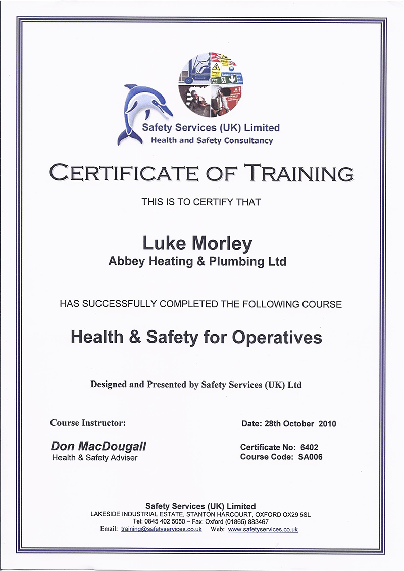 Abbey Heating And Plumbing Accreditations